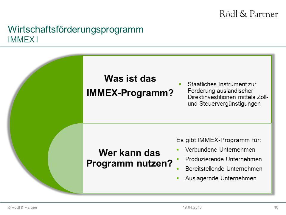 Wirtschaftsförderungsprogramm IMMEX I