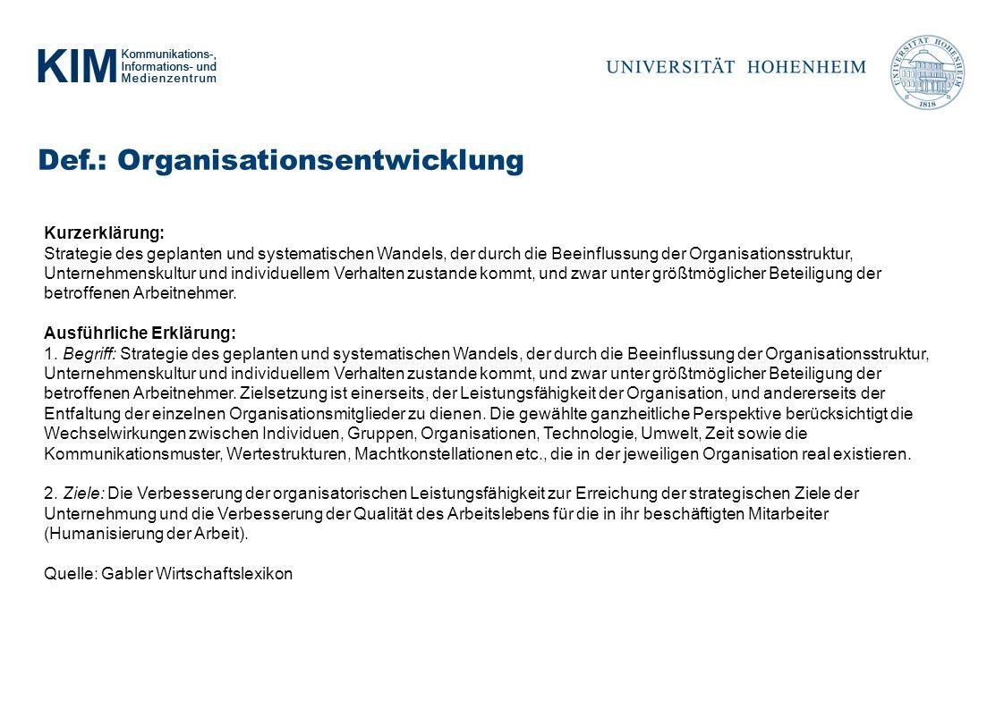 Def.: Organisationsentwicklung