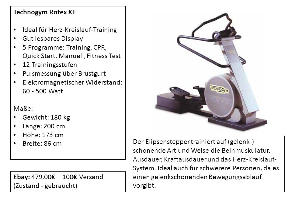 Technogym Rotex XT Ideal für Herz-Kreislauf-Training. Gut lesbares Display. 5 Programme: Training, CPR, Quick Start, Manuell, Fitness Test.