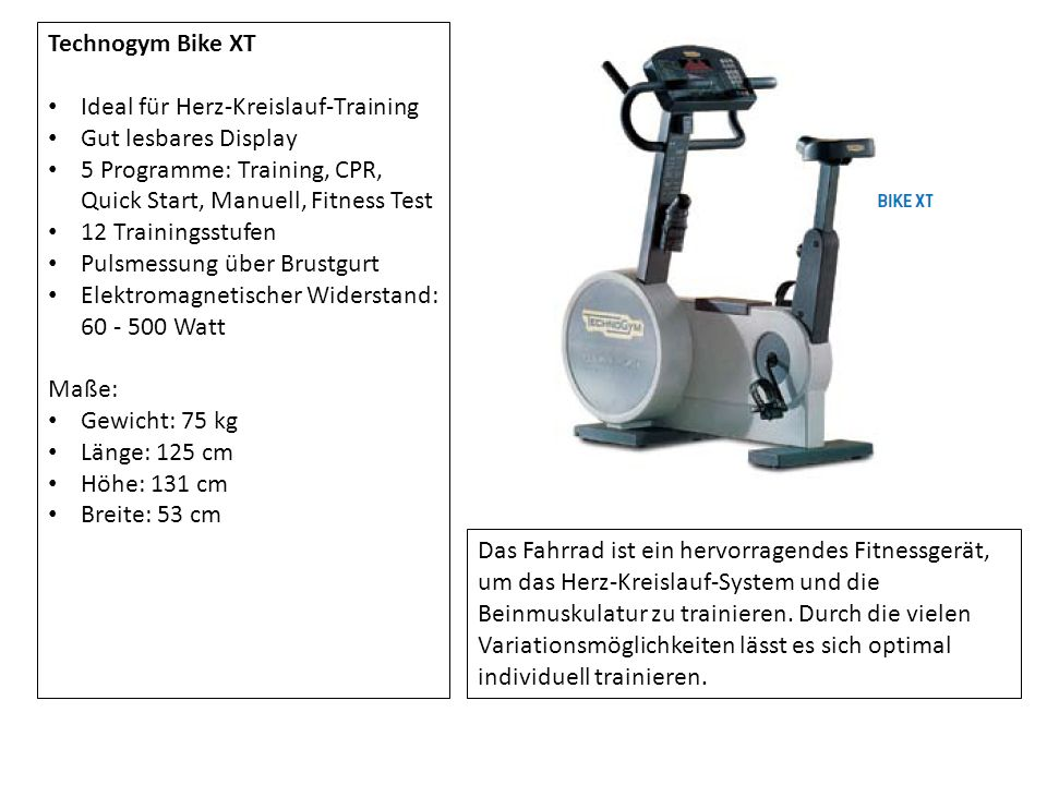 Technogym Bike XT Ideal für Herz-Kreislauf-Training. Gut lesbares Display. 5 Programme: Training, CPR, Quick Start, Manuell, Fitness Test.