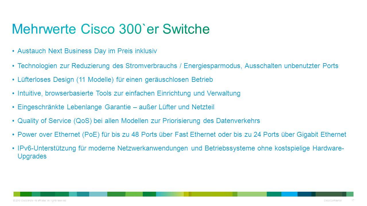 Mehrwerte Cisco 300`er Switche