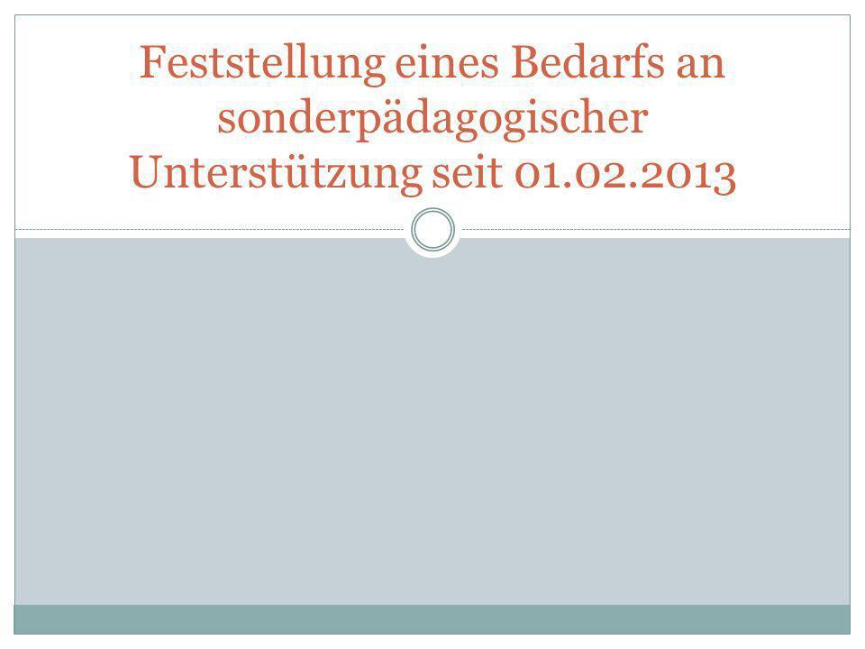 Feststellung eines Bedarfs an sonderpädagogischer Unterstützung seit 01.02.2013