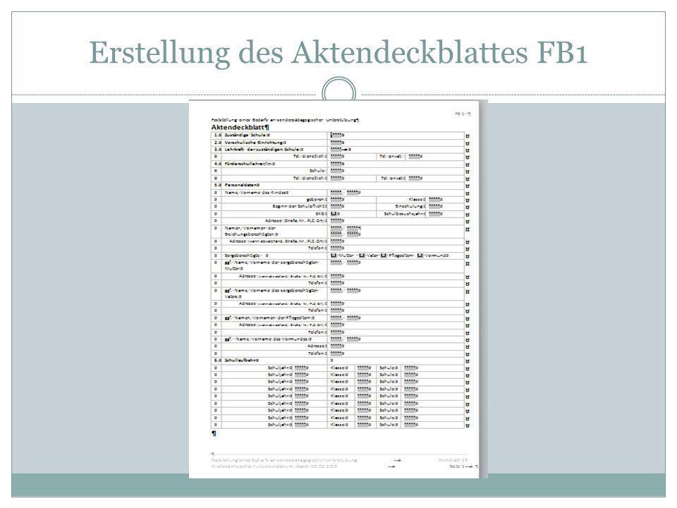 Erstellung des Aktendeckblattes FB1