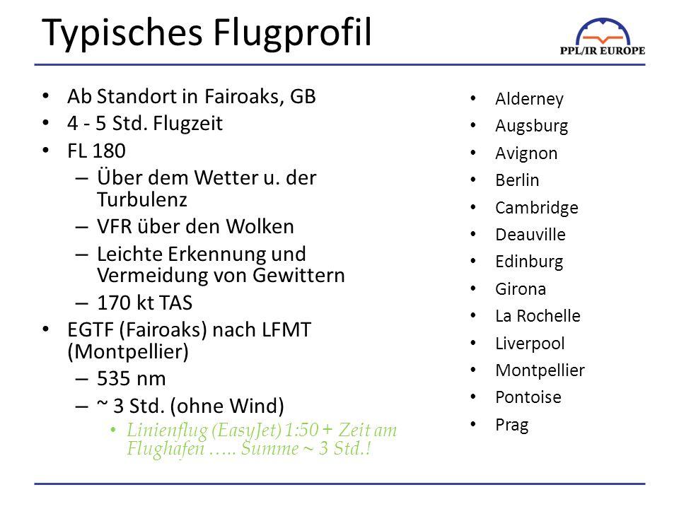 Typisches Flugprofil Ab Standort in Fairoaks, GB 4 - 5 Std. Flugzeit