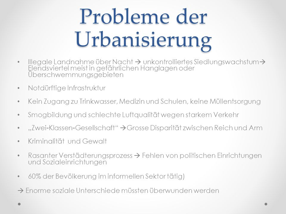 Probleme der Urbanisierung