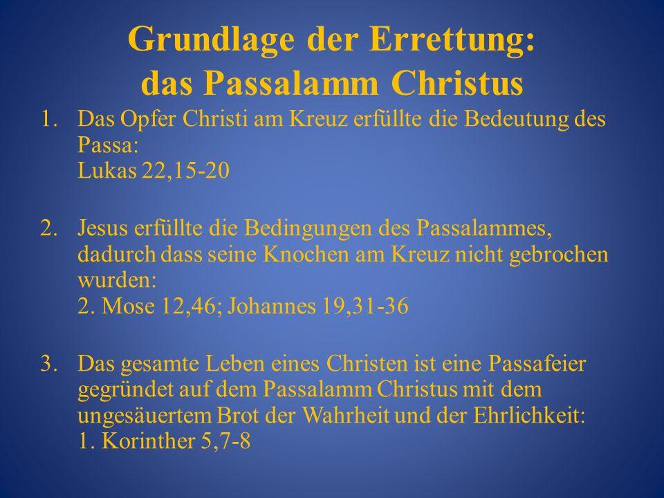 Grundlage der Errettung: das Passalamm Christus