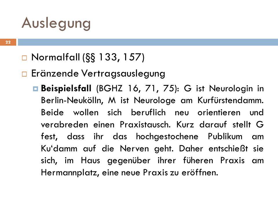 Auslegung Normalfall (§§ 133, 157) Eränzende Vertragsauslegung