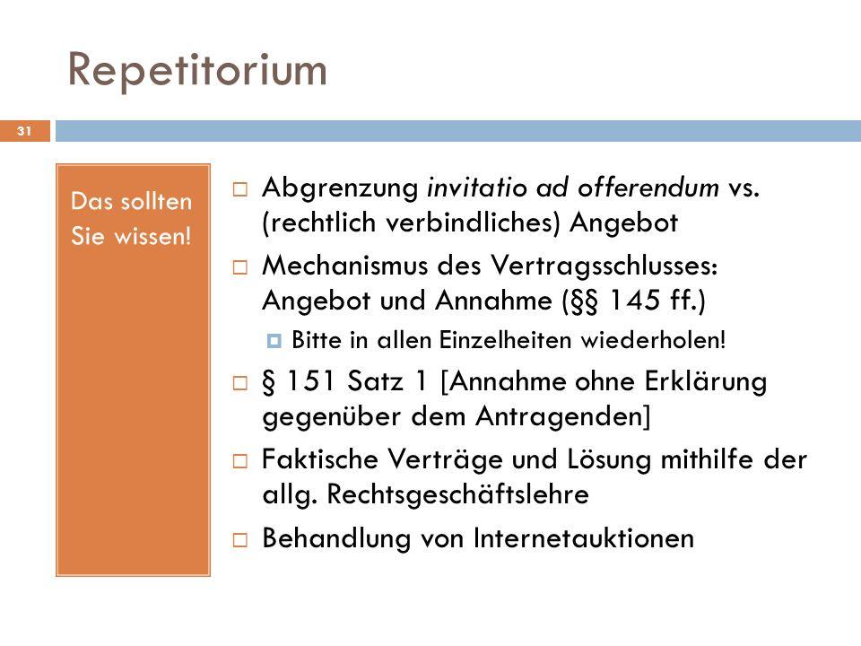 Repetitorium Das sollten Sie wissen! Abgrenzung invitatio ad offerendum vs. (rechtlich verbindliches) Angebot.