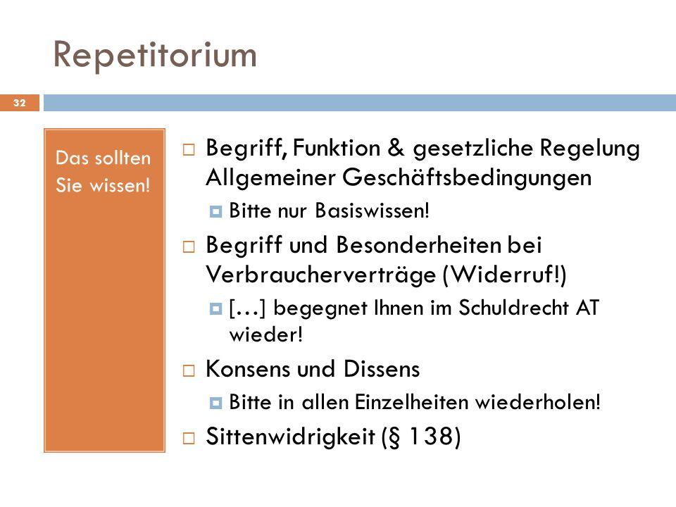 Repetitorium Das sollten Sie wissen! Begriff, Funktion & gesetzliche Regelung Allgemeiner Geschäftsbedingungen.