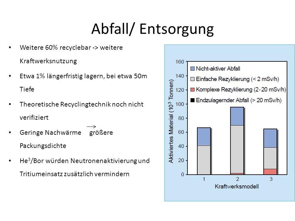 Abfall/ Entsorgung Weitere 60% recyclebar -> weitere Kraftwerksnutzung. Etwa 1% längerfristig lagern, bei etwa 50m Tiefe.