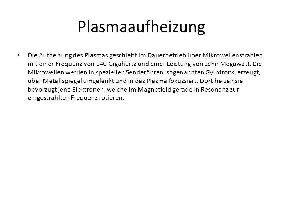 Plasmaaufheizung