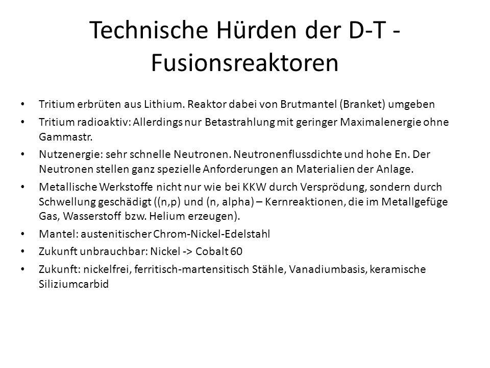 Technische Hürden der D-T - Fusionsreaktoren