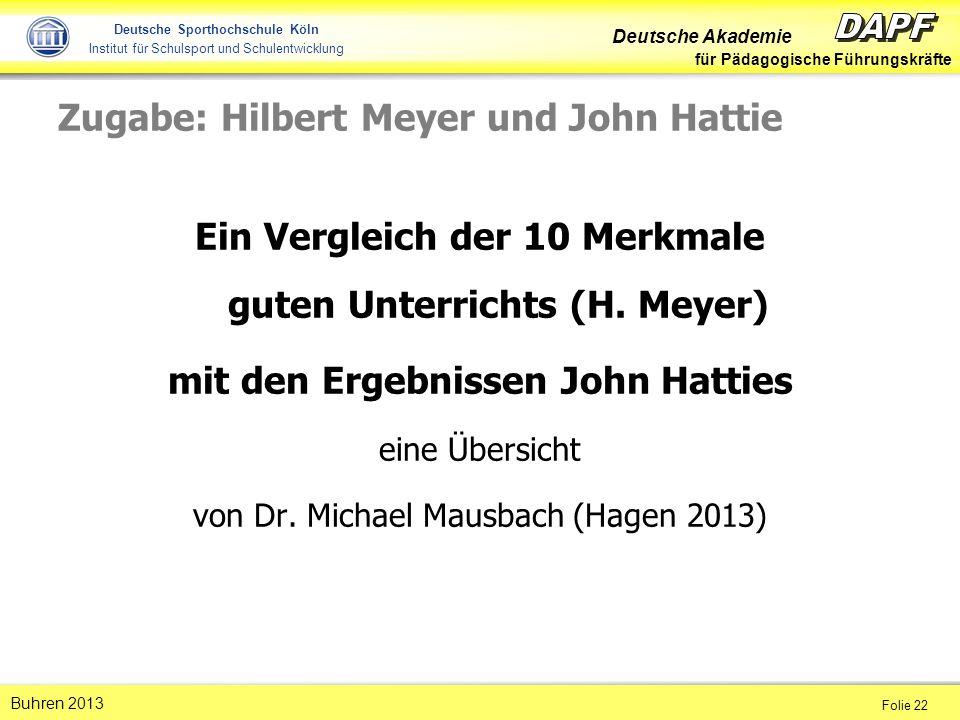 Zugabe: Hilbert Meyer und John Hattie