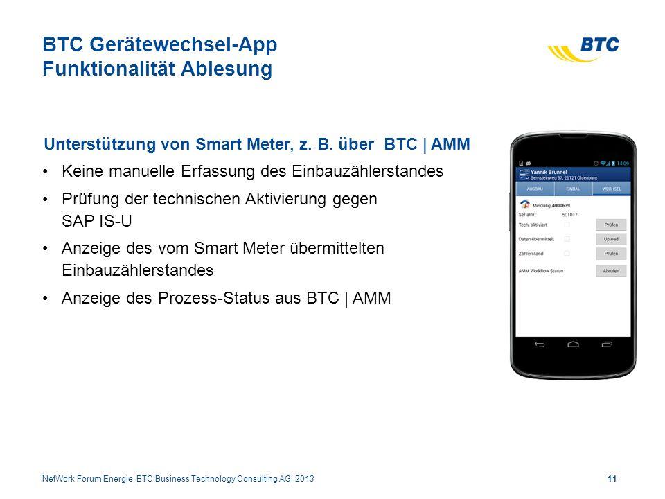 BTC Gerätewechsel-App Funktionalität Ablesung