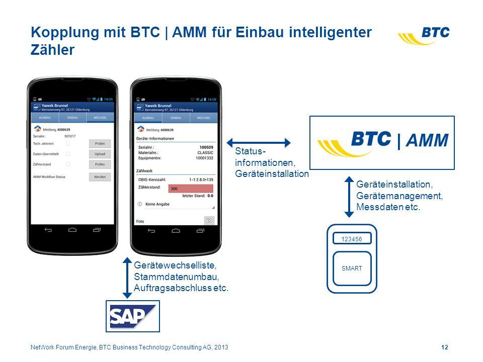 Kopplung mit BTC | AMM für Einbau intelligenter Zähler