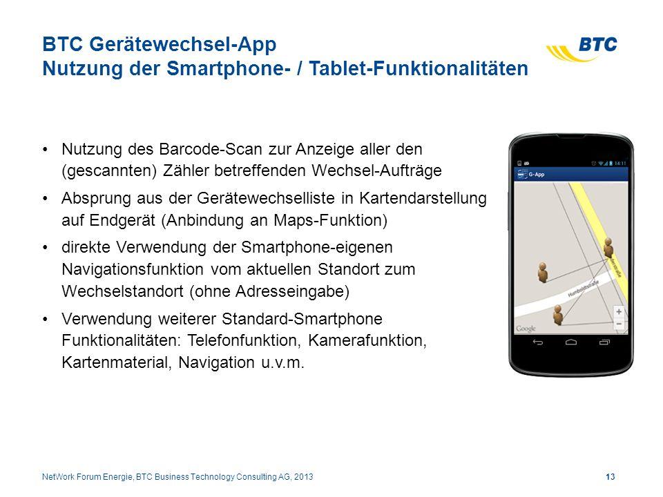BTC Gerätewechsel-App Nutzung der Smartphone- / Tablet-Funktionalitäten