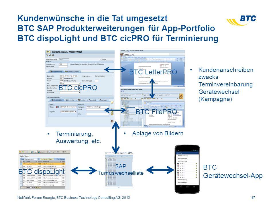 Kundenwünsche in die Tat umgesetzt BTC SAP Produkterweiterungen für App-Portfolio BTC dispoLight und BTC cicPRO für Terminierung