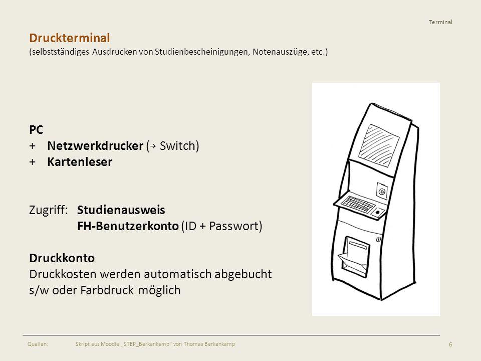 + Netzwerkdrucker (→ Switch) + Kartenleser