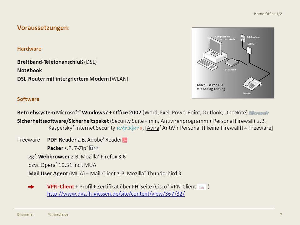 Voraussetzungen: Hardware Breitband-Telefonanschluß (DSL) Notebook