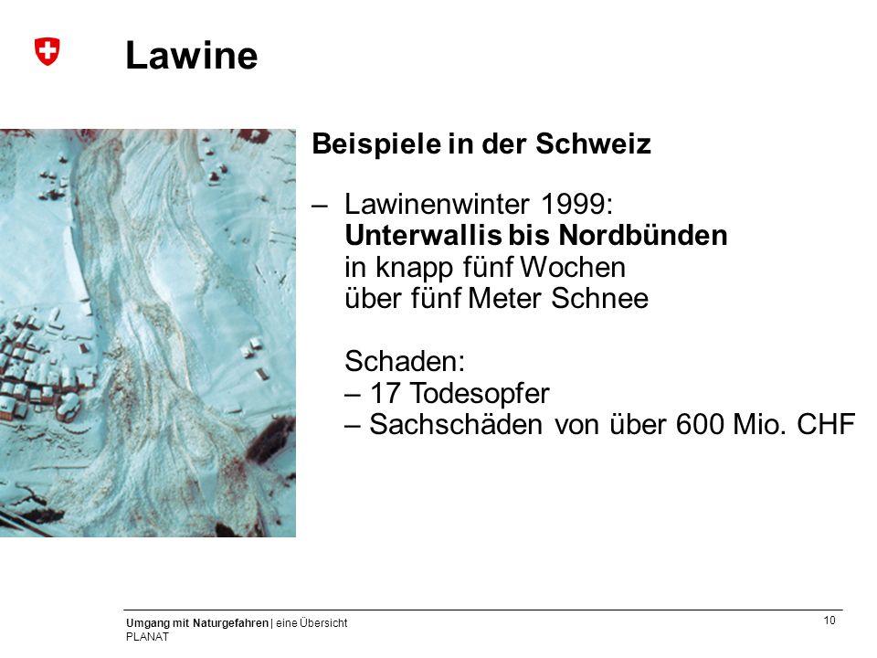 Lawine Beispiele in der Schweiz