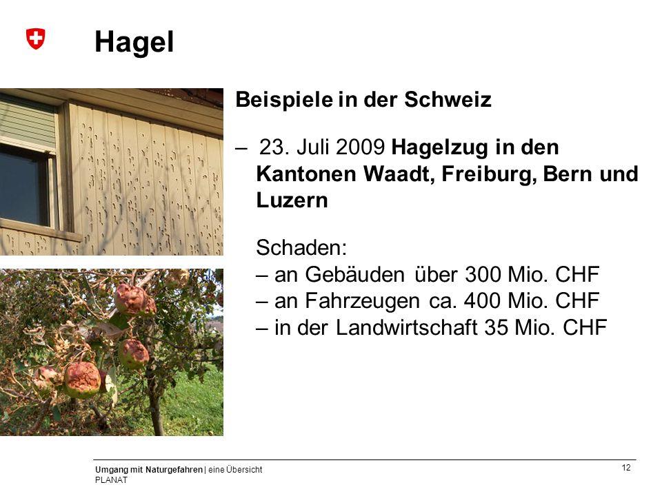 Hagel Beispiele in der Schweiz