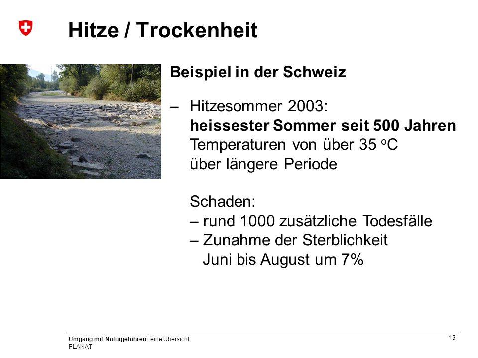 Hitze / Trockenheit Beispiel in der Schweiz