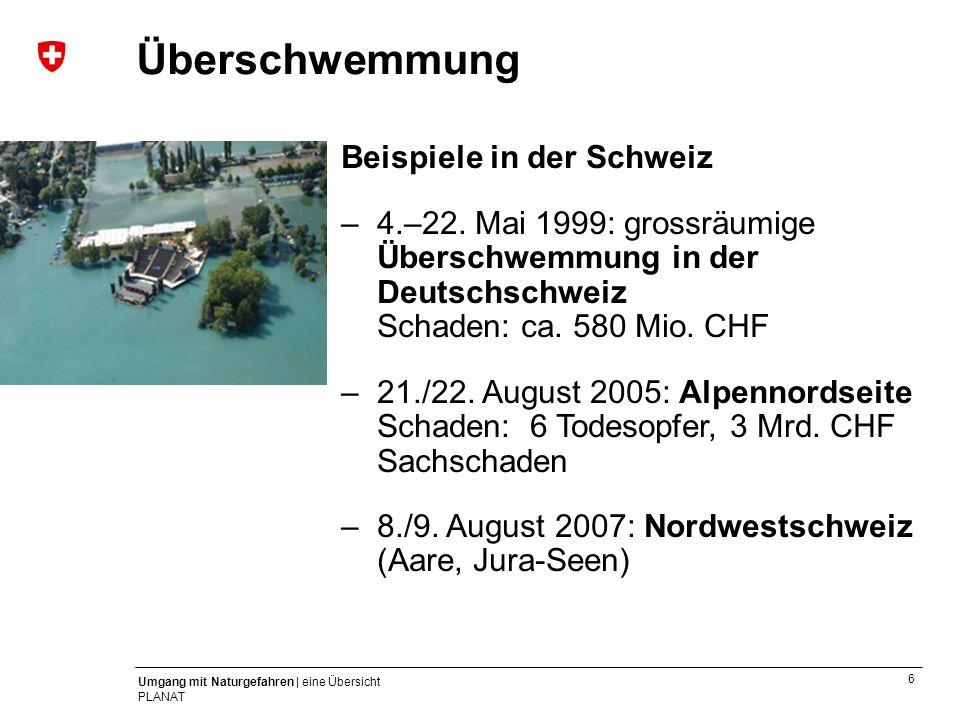 Hochwasser Überschwemmung Beispiele in der Schweiz