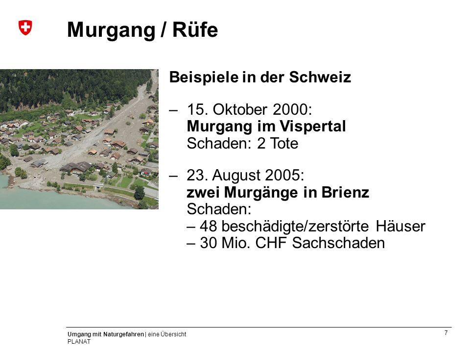 Murgang / Rüfe Beispiele in der Schweiz