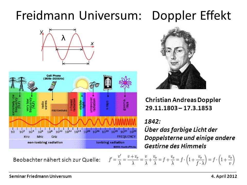 Freidmann Universum: Doppler Effekt