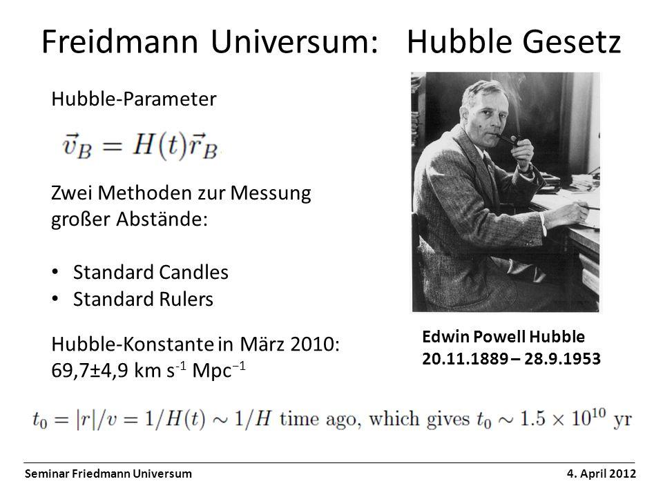 Freidmann Universum: Hubble Gesetz