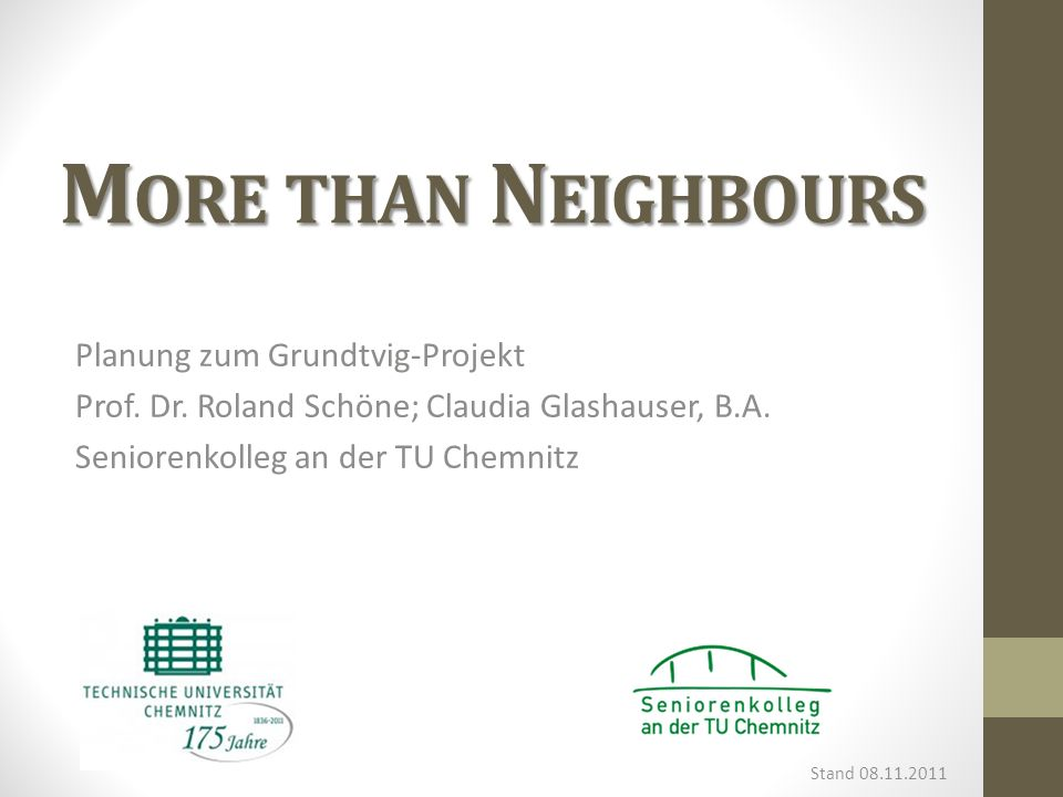 More than Neighbours Planung zum Grundtvig-Projekt