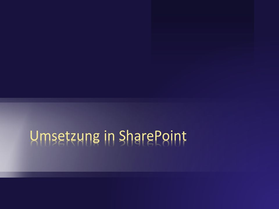 Umsetzung in SharePoint