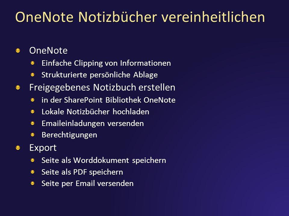 OneNote Notizbücher vereinheitlichen
