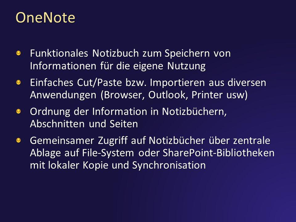 OneNote Funktionales Notizbuch zum Speichern von Informationen für die eigene Nutzung.
