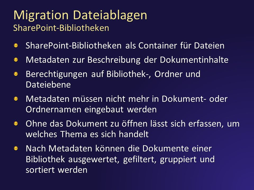Migration Dateiablagen SharePoint-Bibliotheken