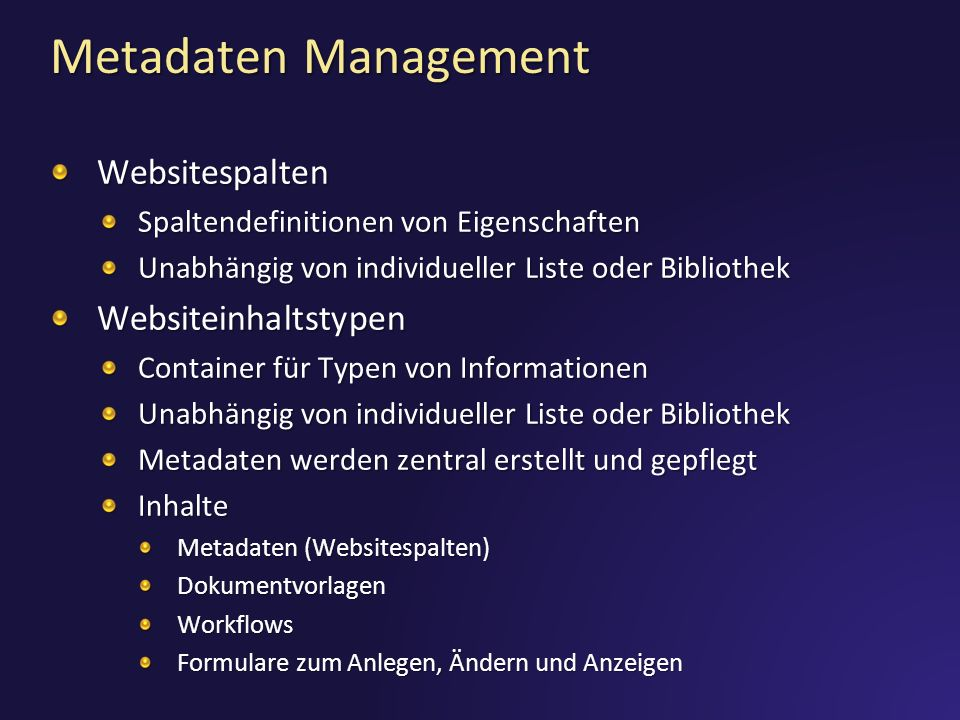 Metadaten Management Websitespalten Websiteinhaltstypen