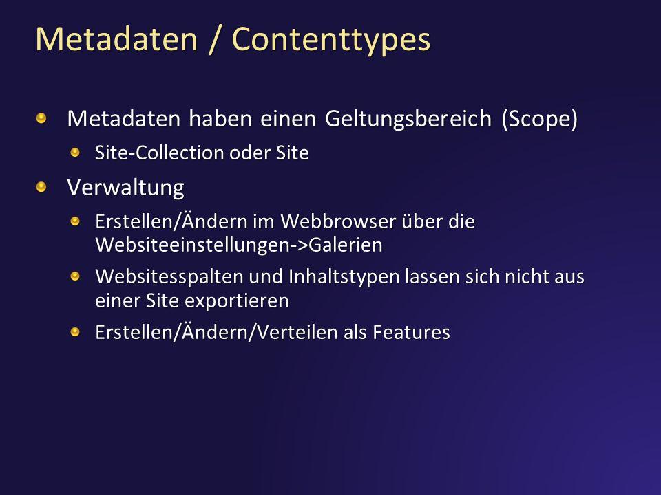 Metadaten / Contenttypes