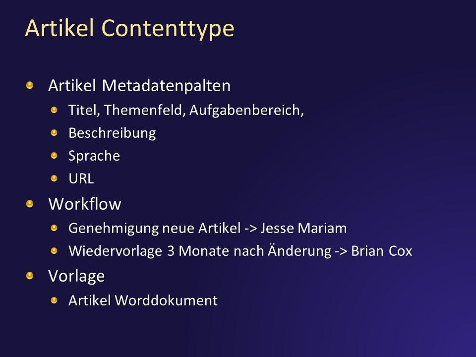 Artikel Contenttype Artikel Metadatenpalten Workflow Vorlage