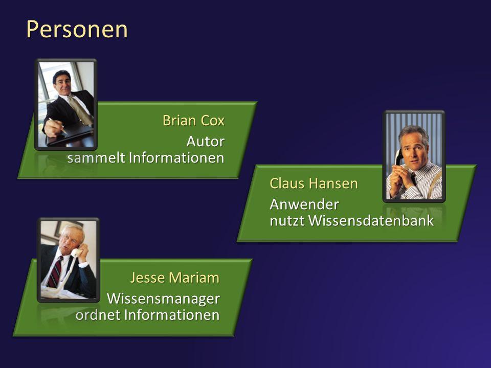 3/28/2017 12:17 PM Personen. Brian Cox. Autor sammelt Informationen. Claus Hansen. Anwender nutzt Wissensdatenbank.