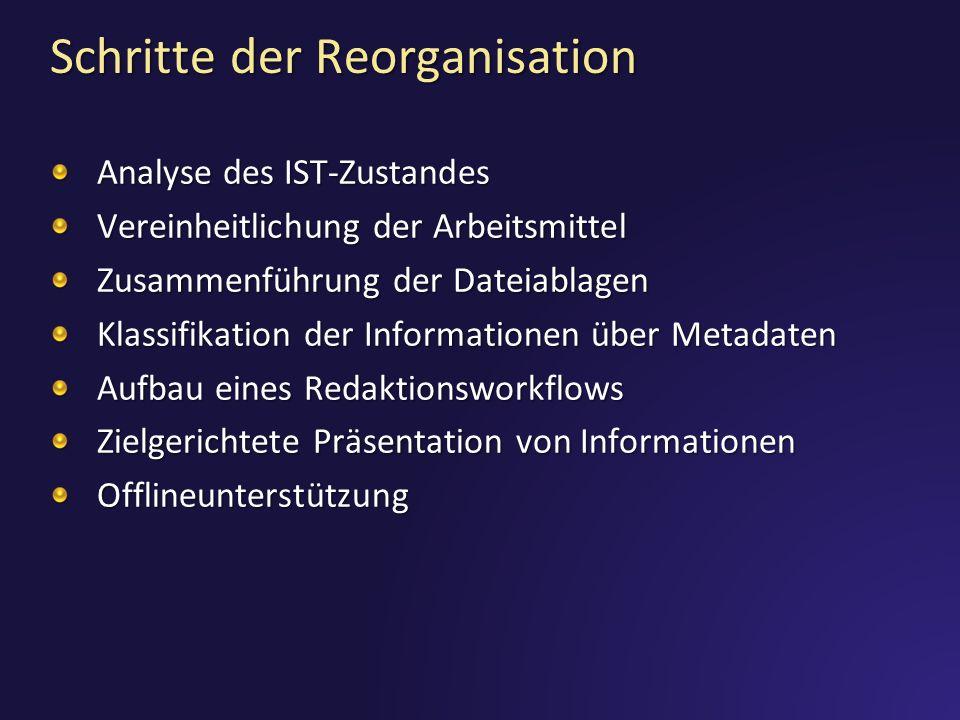 Schritte der Reorganisation
