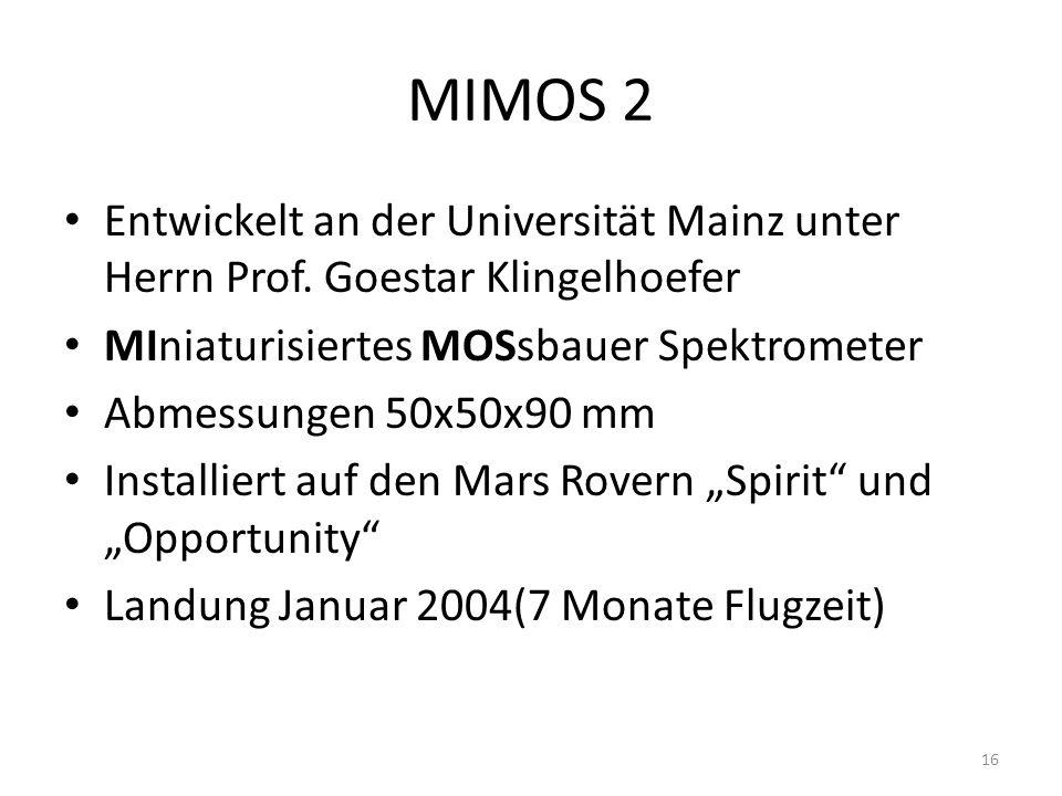 MIMOS 2 Entwickelt an der Universität Mainz unter Herrn Prof. Goestar Klingelhoefer. MIniaturisiertes MOSsbauer Spektrometer.