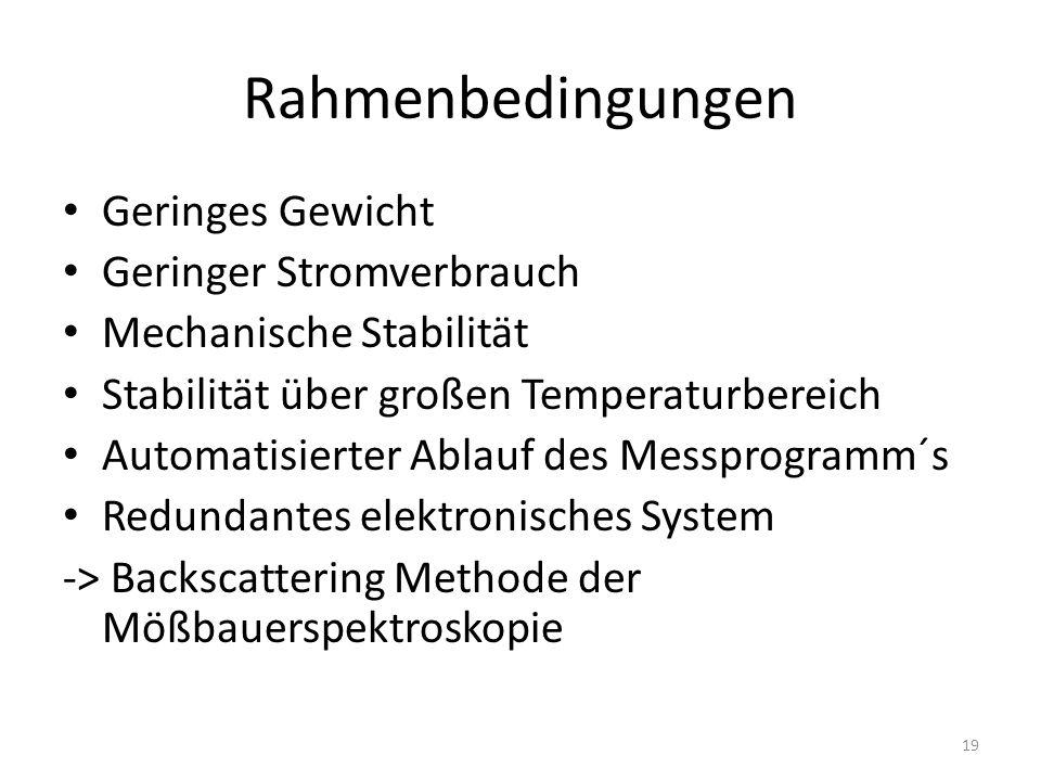 Rahmenbedingungen Geringes Gewicht Geringer Stromverbrauch