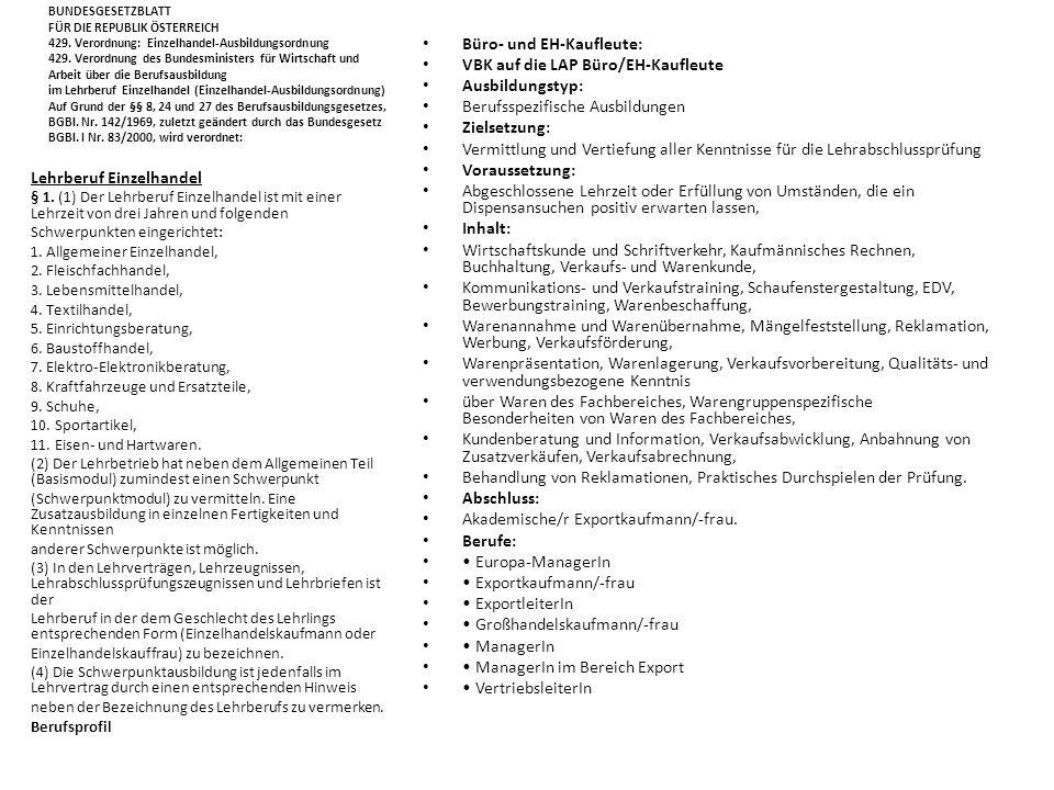 Büro- und EH-Kaufleute: VBK auf die LAP Büro/EH-Kaufleute