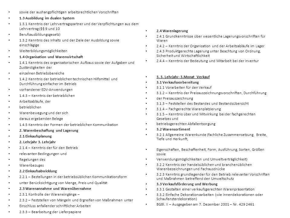 2.4 Warenlagerung 2.4.1 Grundkenntnisse über wesentliche Lagerungsvorschriften für Waren.