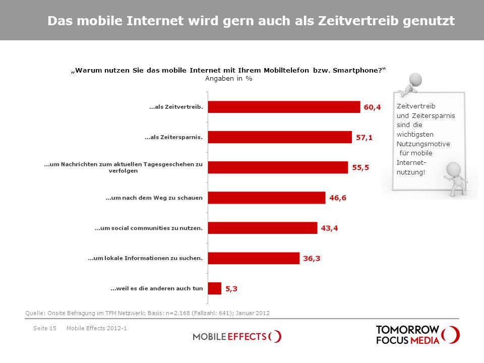 Das mobile Internet wird gern auch als Zeitvertreib genutzt