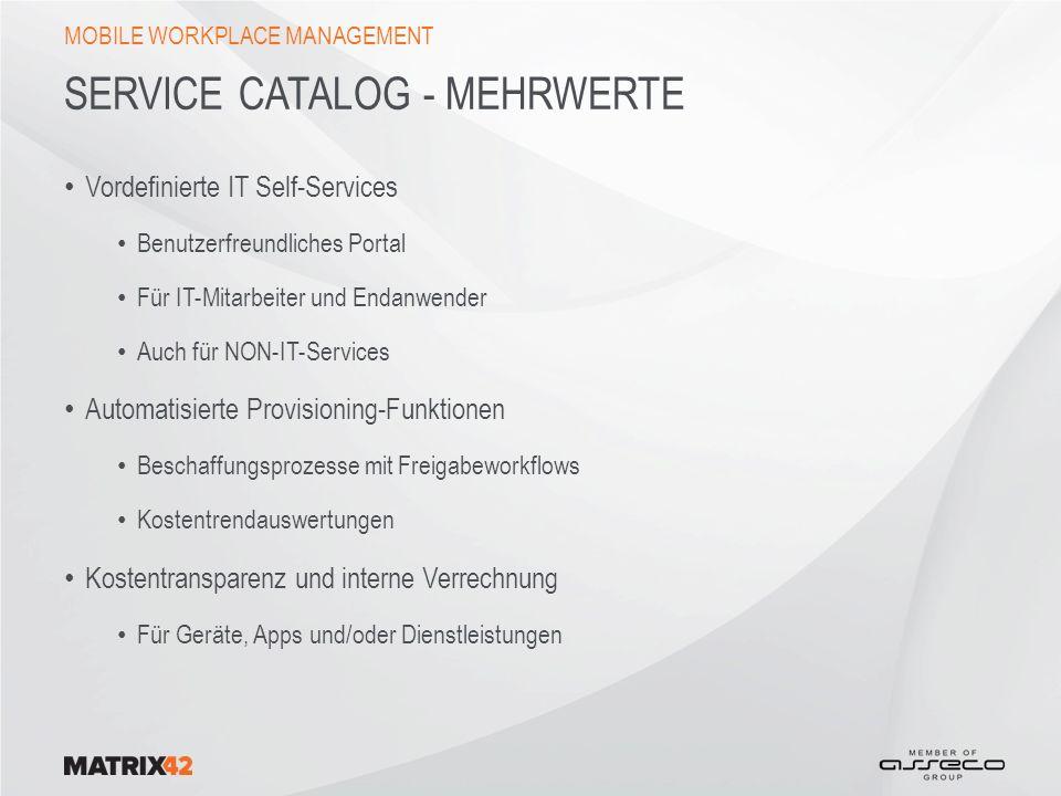 Service Catalog - Mehrwerte