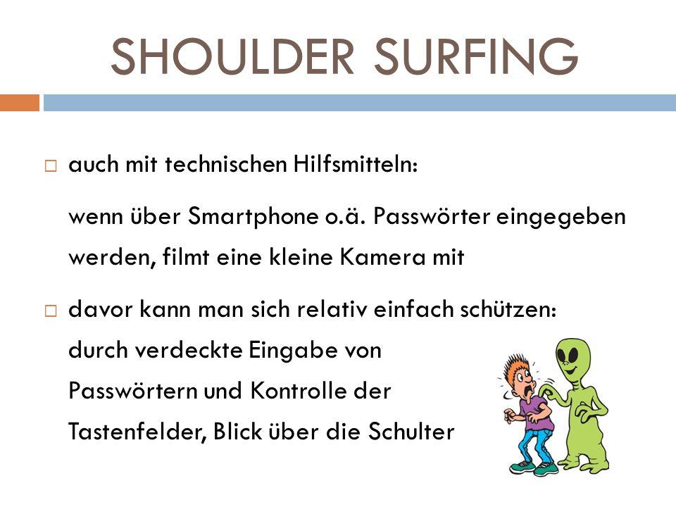 SHOULDER SURFING auch mit technischen Hilfsmitteln: