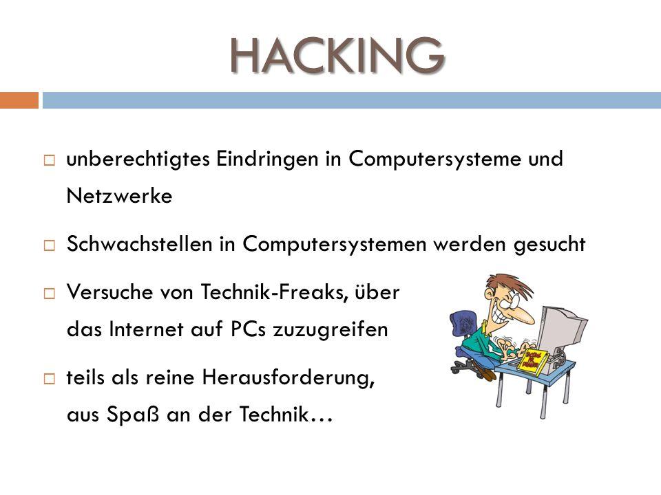 HACKING unberechtigtes Eindringen in Computersysteme und Netzwerke