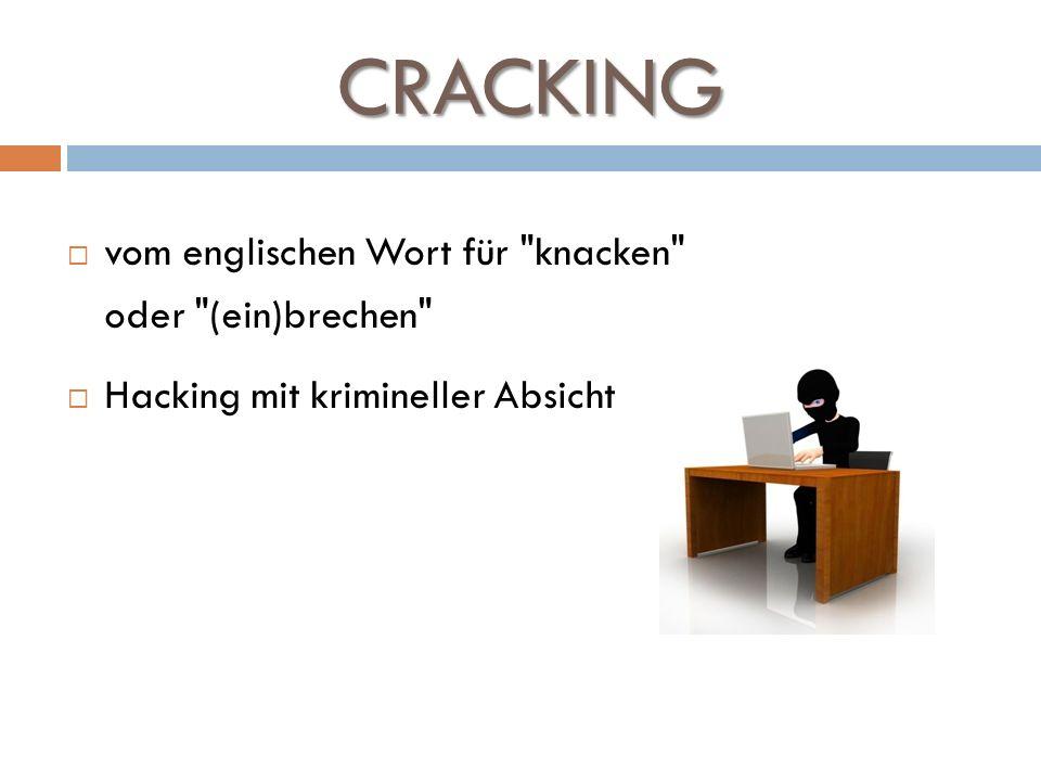 CRACKING vom englischen Wort für knacken oder (ein)brechen