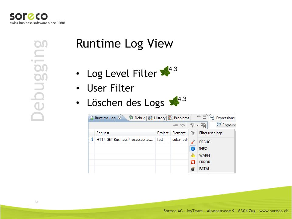 Debugging Runtime Log View Log Level Filter User Filter